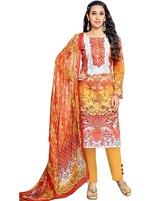 Red and Marigold Karishma Digital-Printed Trouser Salwar Kameez Suit with Embroidered Patch on Neck and Chiffon Dupatta