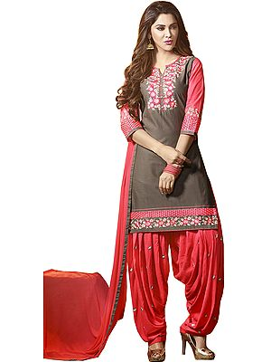 Gray and Pink Patiala Salwar Kameez Suit with Floral-Embroidery and Plain Chiffon Dupatta