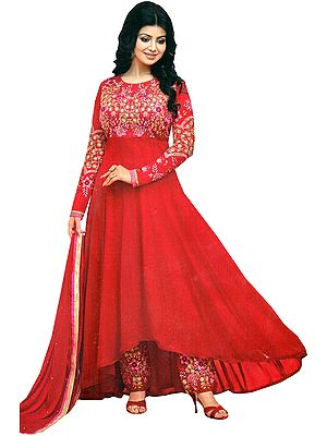 True-Red Ayesha Wedding Anarkali Suit with Embroidery and Sequins