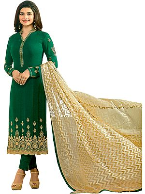 Alpine-Green Prachi Long Trouser Salwar Kameez Suit with Zari-Embroidery and Dupatta in Self-weave