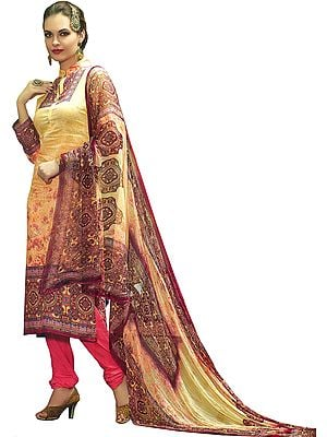 Cream and Pink Chudidar Salwar Kameez Suit with Digital-Printed Paisleys and Chiffon Dupatta