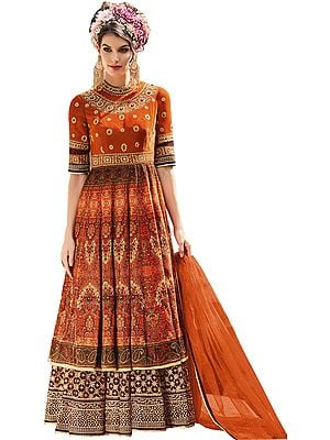 Apricot-Orange Wedding Printed Floor-Length Anarkali Suit with Embroidery and Bead-work