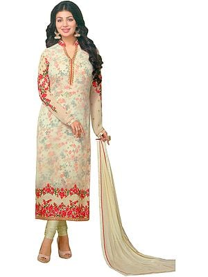 Cream Ayesha Long Embroidered Chudidar Kameez Suit with Digital Printed Flowers and Crystals