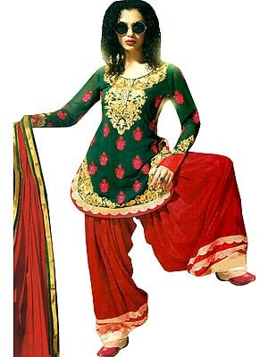Wedding Patiala Salwar Kameez Suit with Embroidery and Sequins