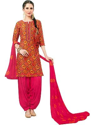 Nugget and Pink Printed Patiala Salwar Kameez Suit with Embroidered Patch on Neck and Printed Chiffon Dupatta