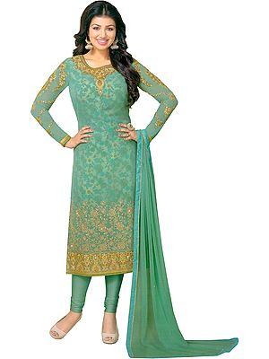 Smoke-Green Ayesha Long Chudidar Kameez Suit with Golden-Embroidery and Floral Print