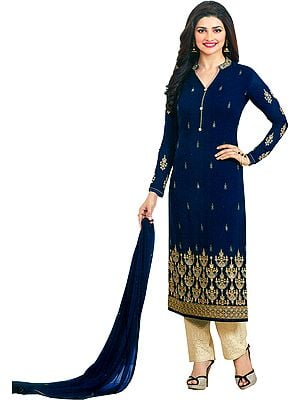 Blue and Cream Prachi Salwar Kameez Suit with Golden Embroidery and Cut-work on Salwar