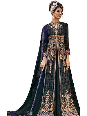 Nine-Iron-Gray Floor-Length Anarkali Suit with Mughal Print and Crystals