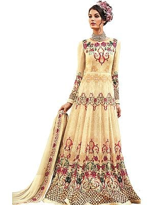 Boulder-Beige Anarkali Suit with Stones and Printed Roses