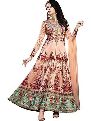 Salmon-Orange Floor-Length Anarkali Suit with Embroidered Flowers and Stones