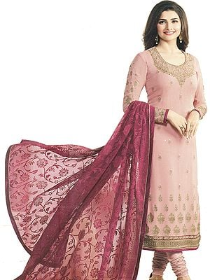 Dusty-Pink and Maroon Long Choodidaar Kameez Suit with Golden-Embroidered Booties