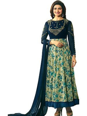 Blue-Sapphire Designer Anarkali Suit with Printed Florals