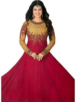 Golden and Pink Ayesha Designer Anarkali Suit with Floral-Embroidery and Crystals
