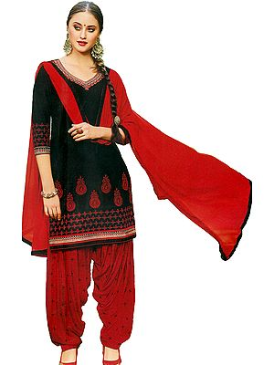 Black and Red Patiala Salwar Kameez Suit with Embroidered Flowers and Booties