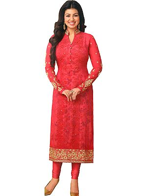 Azalea-Pink Ayesha Long Choodidaar Kameez Suit with Golden-Embroidery and Floral Print