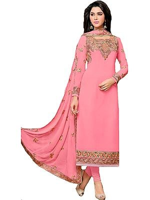 Conchshell-Pink Long Chudidar Kameez Suit with Golden Floral Embroidery