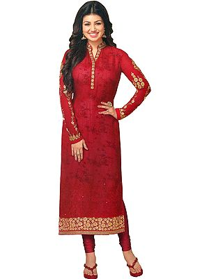 Ribbon-Red Ayesha Long Chudidar Kameez Suit with Golden-Embroidery and Floral Print
