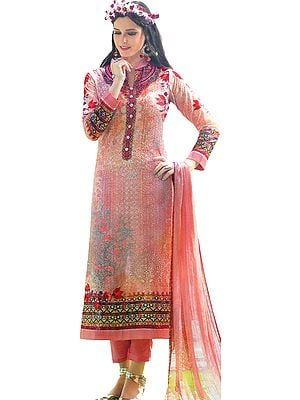 Coral-Pink Digital-Printed Trouser Salwar Kameez Suit with All Over Embroidery and Chiffon Dupatta