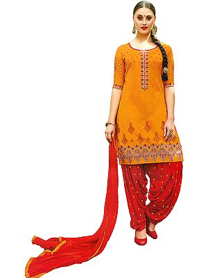 Marigold and Red Patiala Salwar Kameez Suit with Embroidered Flowers and Booties