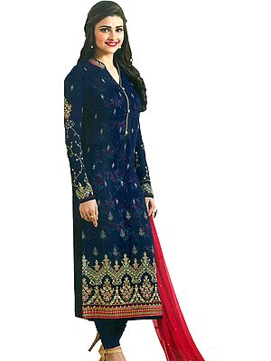 Medieval-Blue Prachi Long Chudidar Salwar Kameez Suit with Zari-Embroidery and Georgette Dupatta