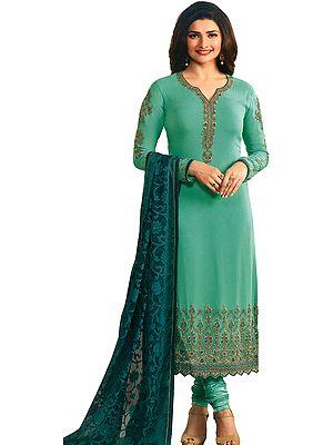 Electric-Green Prachi Long Chudidar Salwar Kameez Suit with Zari-Embroidery and Dupatta in Self-weave