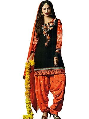Black and Orange Patiala Salwar Kameez Suit with Embroidered Flowers and Booties