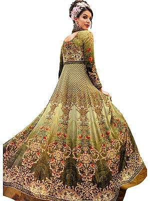 Linden-Green Designer Floor-Length Anarkali Suit with Floral Print and Crystals