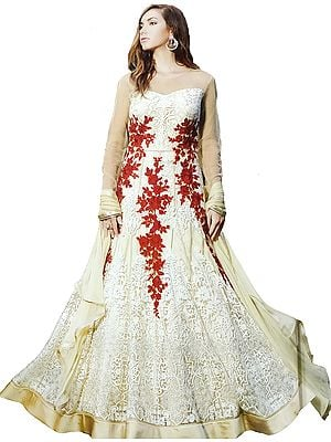 Summer-Melon Designer Floor-Length Anarkali Suit with Floral Ari Embroidery and Crystals