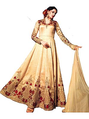 Yellow-Gold Designer Floor-Length Anarkali Suit with Floral Ari Embroidery and Crystals