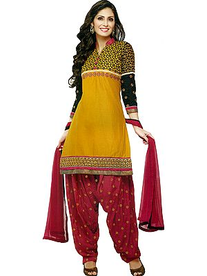 Yolk-Yellow Patiala Salwar Kameez Suit with Embroidered Bootis