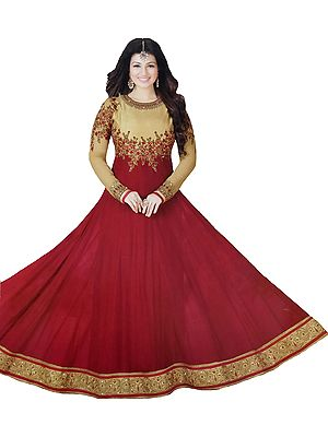 Golden and Red Ayesha Designer Anarkali Suit with Floral-Embroidery and Crystals