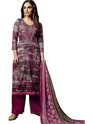 Fuchsia-Rose and Gray Long Printed Parallel Salwar Kameez Suit with Embroidery on Neck and Crystals