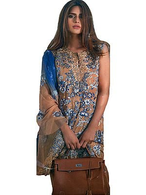 Golden-Brown and Blue Salwar Kameez suit with Ari Embroidered Floral and Bootis