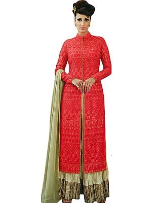 Gajjadi-Red and Beige Designer Sharara Salwar Kameez Suit with Embroidered Bootis and Florals