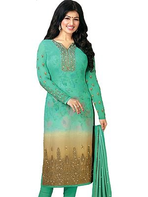Peacock-Green Ayesha Long Embroidered Chudidar Kameez Suit with Digital Printed Flowers and Crystals