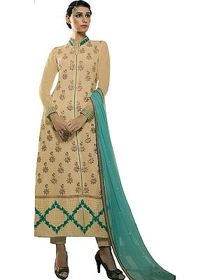 Beige and Green Trouser Salwar Kameez Suit with Embroidered Flowers and Crystals