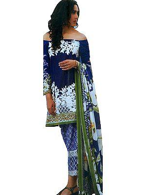 Blue-Iris Digital-Printed Palazzo Salwar Suit with Chiffon Dupatta