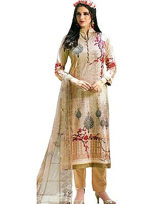 Bleached-Sand Digital-Printed Trouser Salwar Kameez Suit with Embroidered Bootis and Chiffon Dupatta