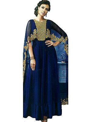 Royal-Blue Cape Style Salwar Kameez Suit with Embroidered Bootis and Beads