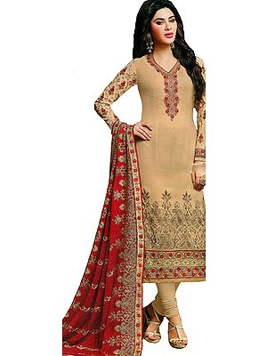 Honey-Peach Long Choodidaar Salwar Kameez Suit with Ari-Embroidery and Crystals All-Over