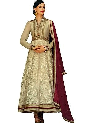 Boulder-Sand Designer Anarkali Suit with Floral-Embroidery and Crystals