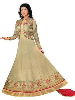 Doeskin and Pink Ayesha Designer Anarkali Suit with Floral-Embroidery and Crystals