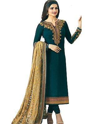 Ocean-Depths Prachi Long Choodidaar Salwar Kameez Suit with Zari-Embroidery and Embellished with Crystals