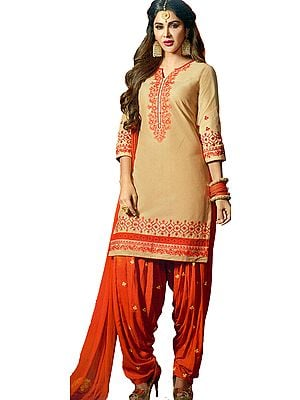 Impala and Orange Patiala Salwar Kameez Suit with Embroidered Bootis and Chiffon Dupatta