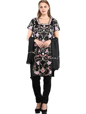 Caviar-Black Trouser Salwar Kameez Suit with Ari Embroidered Florals and Chiffon Dupatta