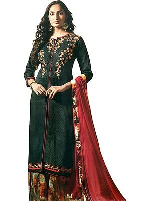 Dark-Shadow Printed Palazzo Salwar Suit with Floral Embroidery and Chiffon Dupatta