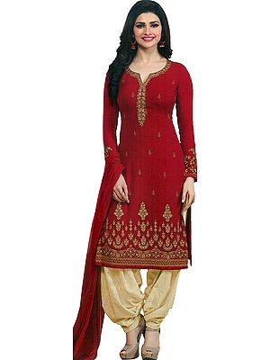 Tango-Red Prachi Long Salwar Kameez Suit with Zari-Embroidery and Crystals