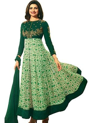 Alpine-Green Designer Anarkali Suit with Printed Flowers and Embroidery on Neck