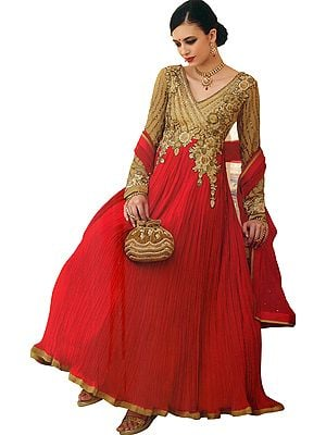 New-Wheat and Red Designer Anarkali Suit with Floral-Embroidery and Crystals