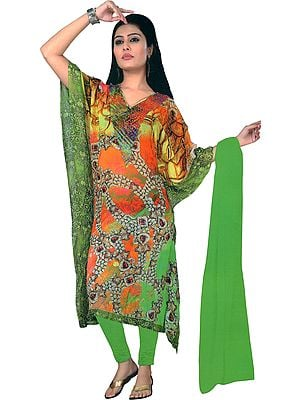 Vibrant-Green Digital-Printed Trouser Kaftan Suit with Crystals and Chiffon Dupatta